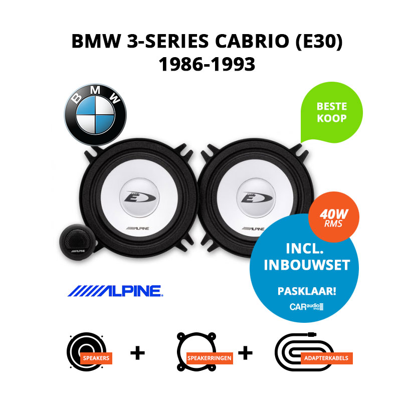 Budget speakers voor BMW 3 series Cabrio 1986 1993 E30