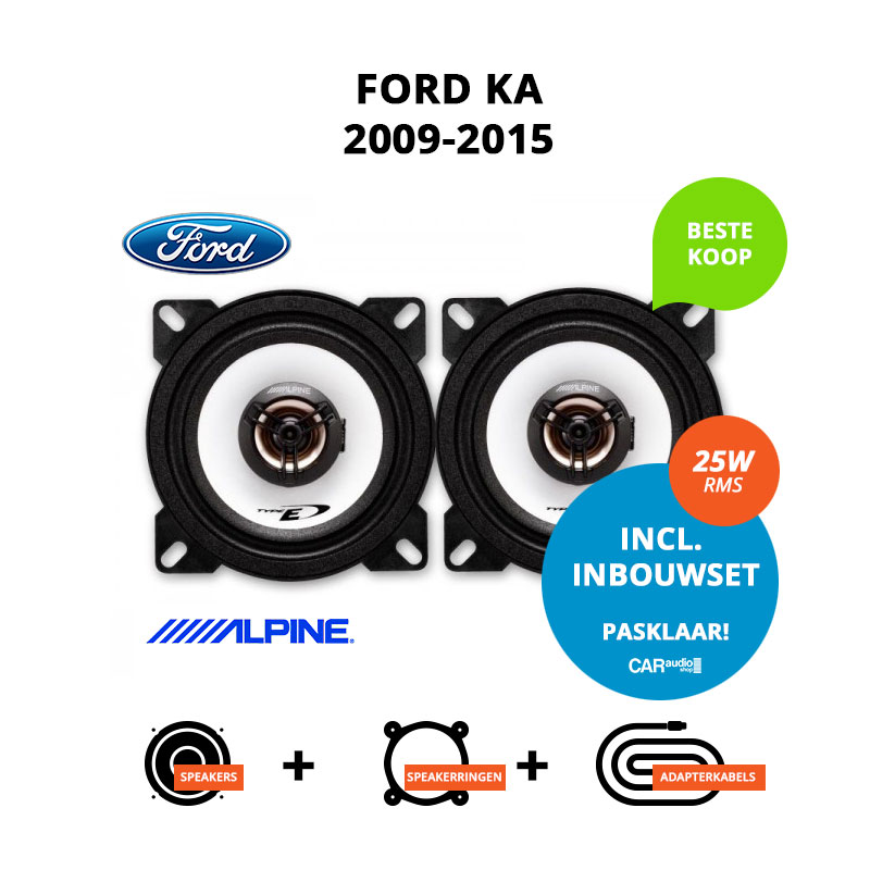 Budget speakers voor Ford Ka 2009 2015 (2G Type RU8)