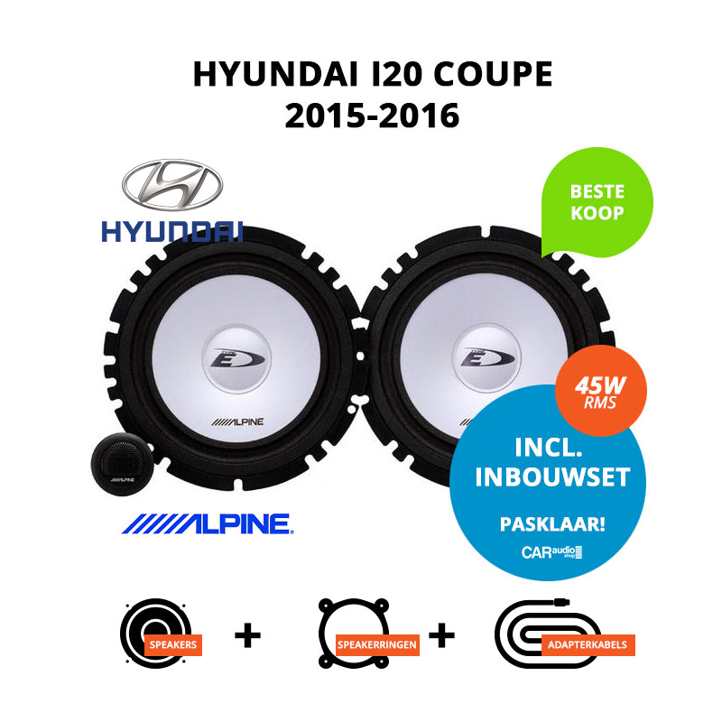 Budget speakers voor Hyundai i20 coupe 2015 2016