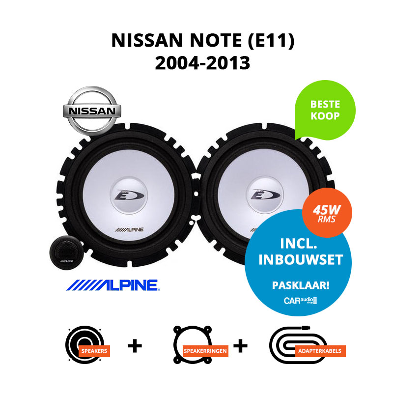 Budget speakers voor Nissan Note 2004 2013 (E11)