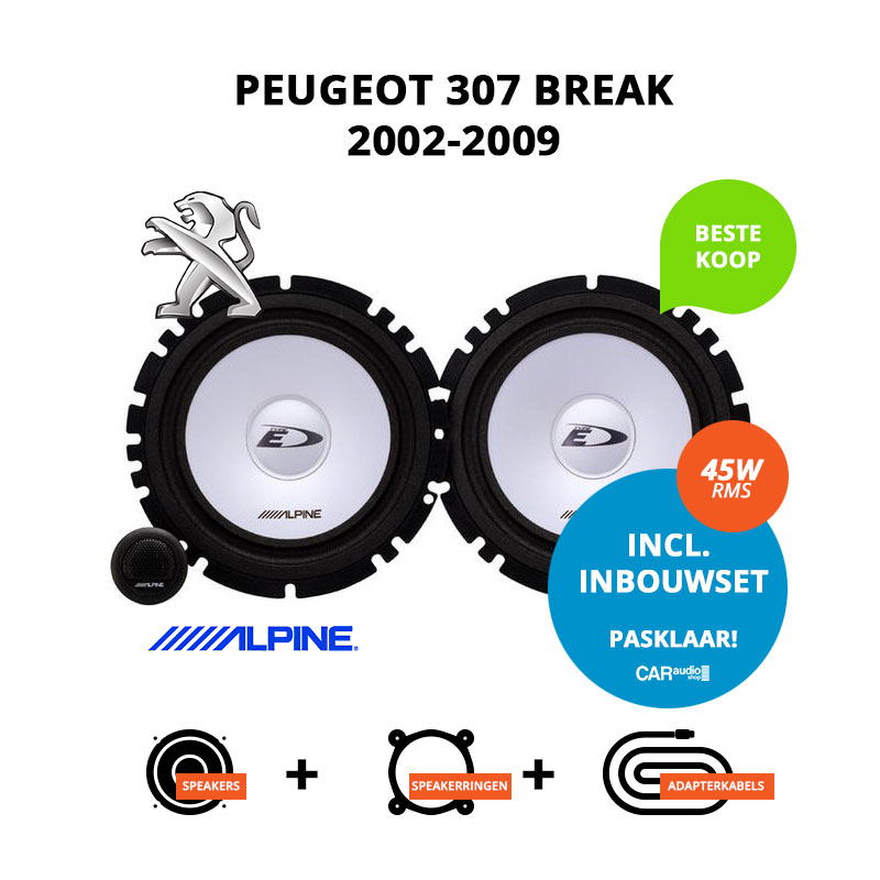 Budget speakers voor Peugeot 307 Break 2002 2009