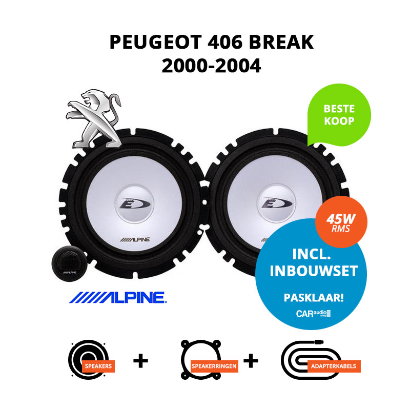 Budget speakers voor Peugeot 406 Break 2000 2004