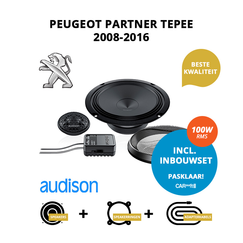 Premium speakers voor Peugeot Partner Tepee 2008 2016