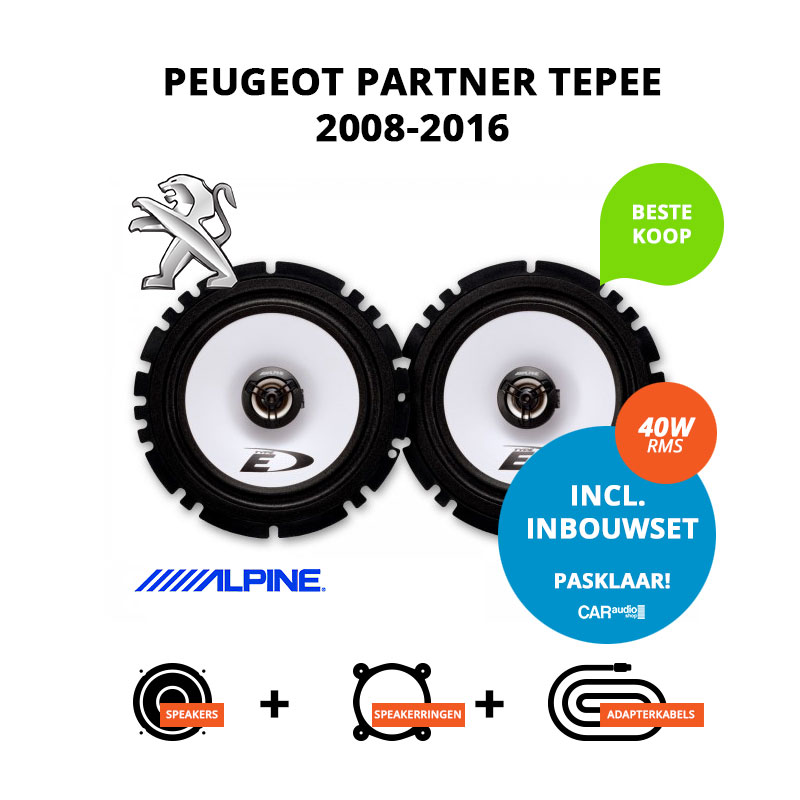 Budget speakers voor Peugeot Partner Tepee 2008 2016