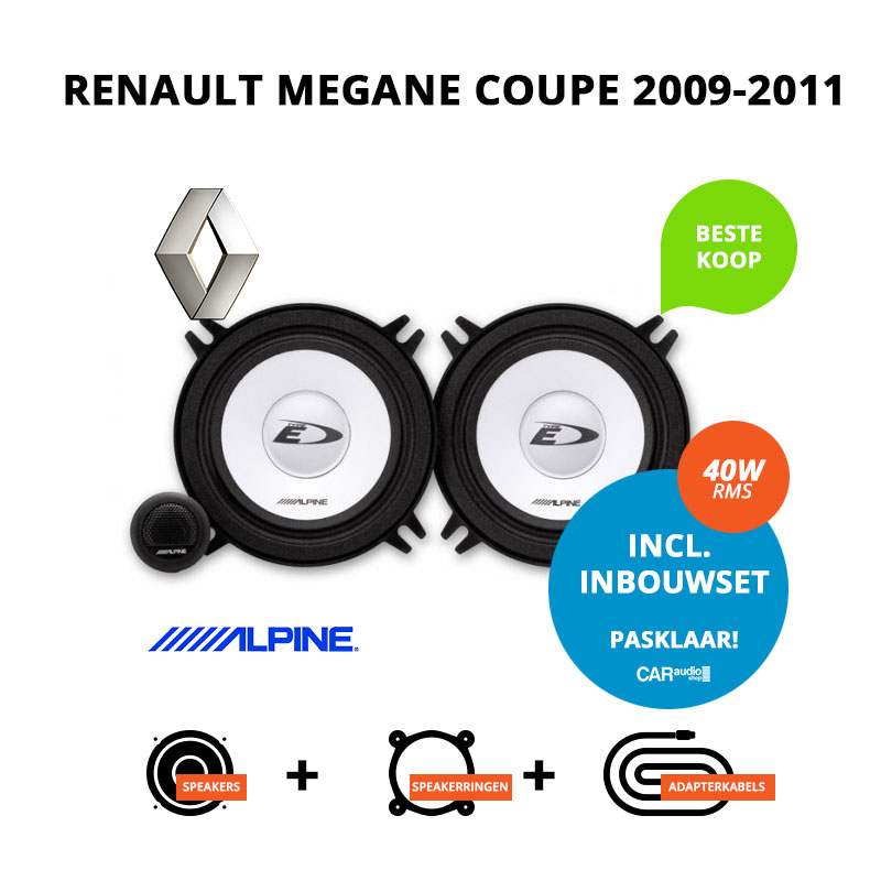 Budget speakers voor Renault Megane Coupe 2009 2011