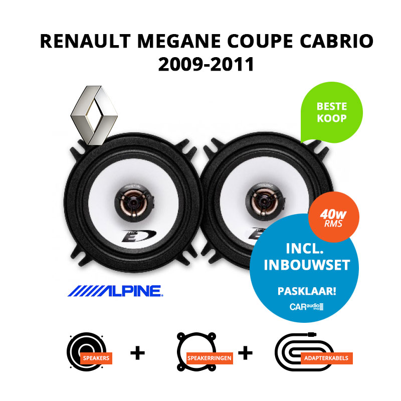 Budget speakers voor Renault Megane Coupe Cabrio 2009 2011