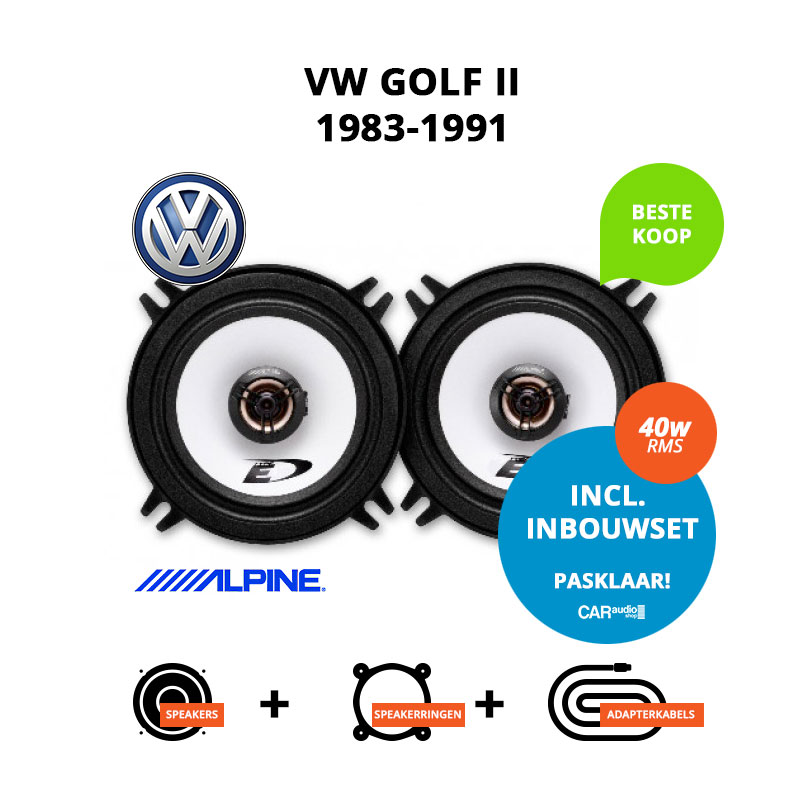 Budget speakers voor VW Golf II 1983 1991