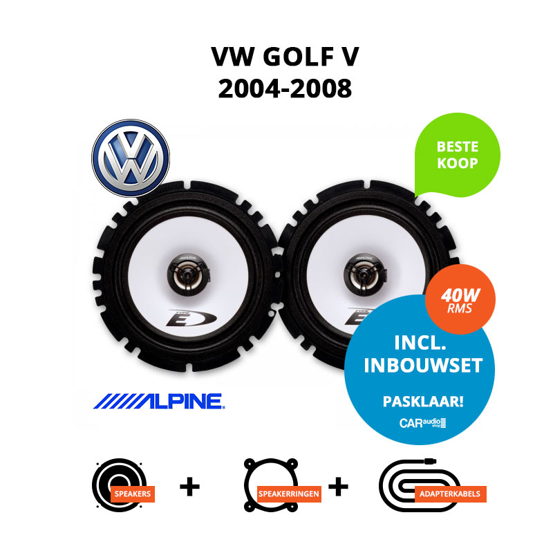 Budget speakers voor VW Golf V 2004 2008