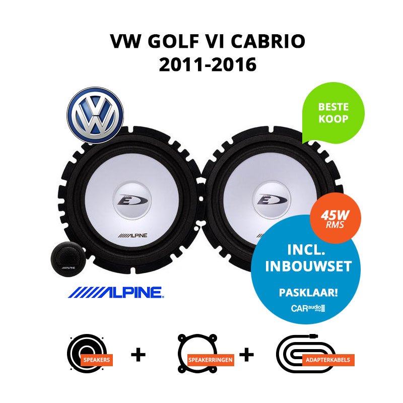 Budget speakers voor VW Golf VI Cabrio 2011 2016